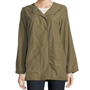 Eileen Fisher Olive Green Light Weight Organic Cotton Nylon Hooded Jacket